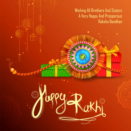 illustration of greeting card and template banner for sales promotion advertisement with decorative Rakhi for Raksha Bandhan, Indian festival for brother and sister bonding celebration 写真素材 - 151074894