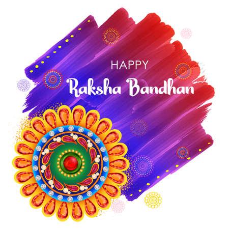 illustration of greeting card and template banner for sales promotion advertisement with decorative Rakhi for Raksha Bandhan, Indian festival for brother and sister bonding celebration 写真素材 - 151074898