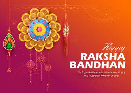 illustration of greeting card and template banner for sales promotion advertisement with decorative Rakhi for Raksha Bandhan, Indian festival for brother and sister bonding celebration 写真素材 - 151074900