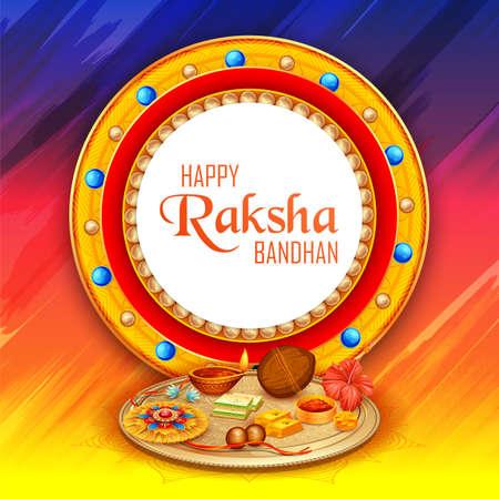 illustration of greeting card and template banner for sales promotion advertisement with decorative Rakhi for Raksha Bandhan, Indian festival for brother and sister bonding celebration