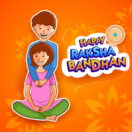 illustration of greeting card and template banner for sales promotion advertisement with decorative Rakhi for Raksha Bandhan, Indian festival for brother and sister bonding celebration 写真素材 - 151074906