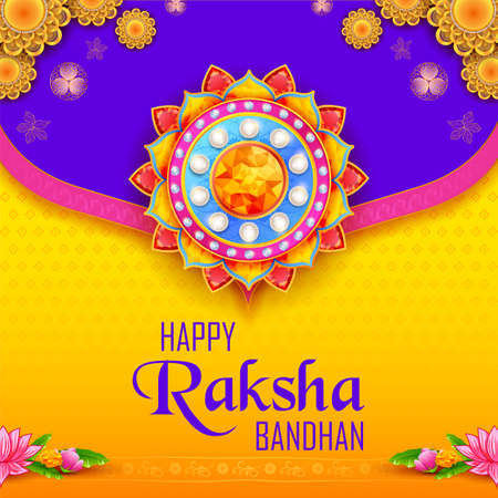 illustration of greeting card and template banner for sales promotion advertisement with decorative Rakhi for Raksha Bandhan, Indian festival for brother and sister bonding celebration 写真素材 - 151074908