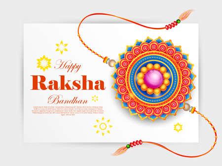 illustration of greeting card and template banner for sales promotion advertisement with decorative Rakhi for Raksha Bandhan, Indian festival for brother and sister bonding celebration 写真素材 - 151074910