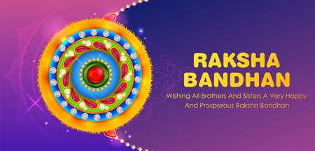 illustration of greeting card and template banner for sales promotion advertisement with decorative Rakhi for Raksha Bandhan, Indian festival for brother and sister bonding celebration 写真素材 - 151074911
