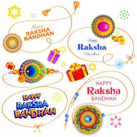 illustration of greeting card and template banner for sales promotion advertisement with decorative Rakhi for Raksha Bandhan, Indian festival for brother and sister bonding celebration 写真素材 - 151074933