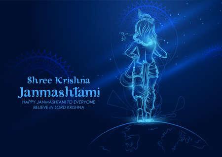 illustration of Lord Krishna in Happy Janmashtami festival background of India with