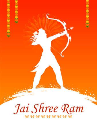 illustration of Lord Rama with bow arrow in Shree Ram Navami celebration background for religious holiday of India Illusztráció