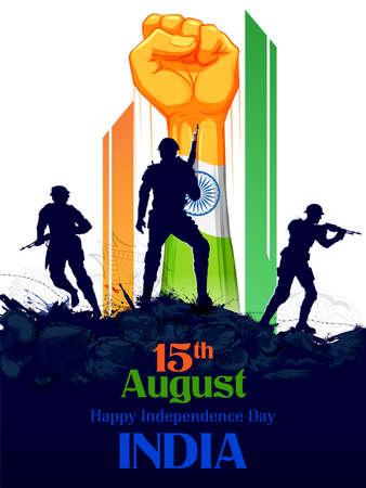 illustration of Indian Army soilder nation hero on Pride of India on 15th August Happy Independence Day background Vektoros illusztráció