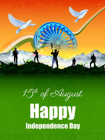 illustration of Indian Army soilder nation hero on Pride of India on 15th August Happy Independence Day background 向量圖像