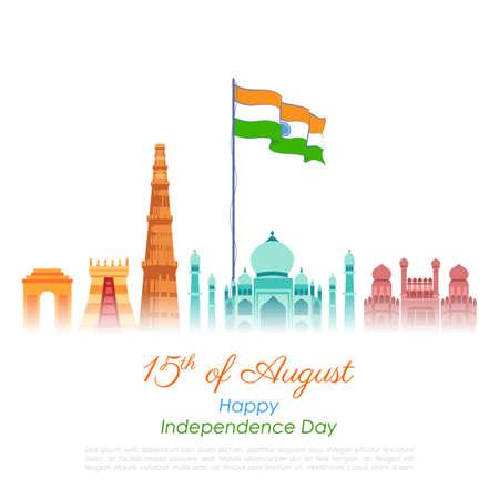 illustration of Famous Indian monument and Landmark for Happy Independence Day of India Vektoros illusztráció