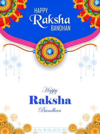 illustration of greeting card and template banner for sales promotion advertisement with decorative Rakhi for Raksha Bandhan, Indian festival for brother and sister bonding celebration Ilustración de vector