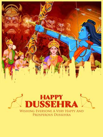 illustration of Lord Rama killing Ravana in Dussehra Navratri festival of India poster