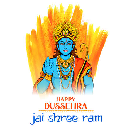 illustration of Lord Rama in Navratri festival of India poster with text in Hindi wishing Happy Dussehra Vettoriali