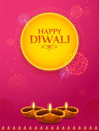 illustration of burning diya on Happy Diwali Holiday background for light festival of India Vektoros illusztráció