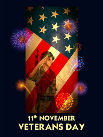 illustration of Army Memorial Happy Veterans Day USA honoring all who served for United States of America