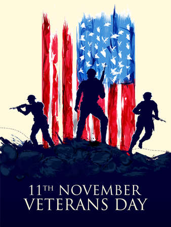 illustration of Army Memorial Happy Veterans Day USA honoring all who served for United States of America Vektorgrafik