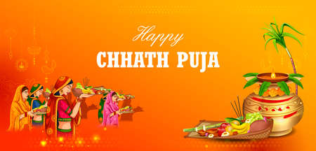 illustration of Happy Chhath Puja Holiday background for Sun festival of India  イラスト・ベクター素材