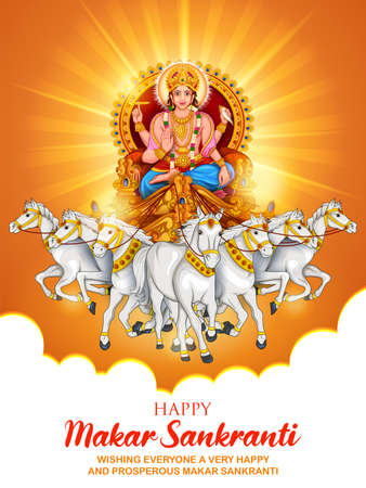 illustration of Makar Sankranti wallpaper with Sun God for festival of India