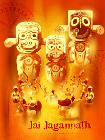 illustration of Lord Jagannath, Balabhadra and Subhadra on annual Rathayatra in Odisha festival background