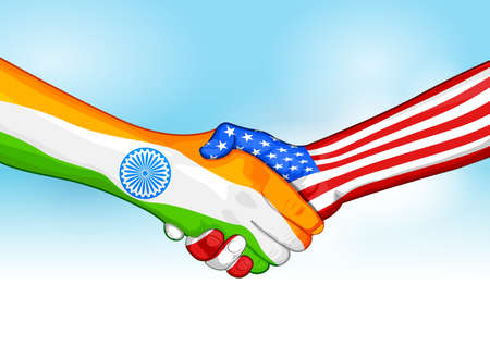 Flags of India and United States of America showing India-America relationship