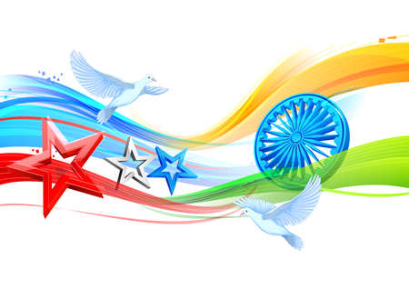 illustration of flags of India and United States of America showing India-America relationship Stock Illustratie