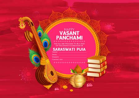 Goddess of Wisdom Saraswati for Vasant Panchami India festival background