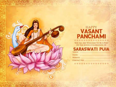 Goddess of Wisdom Saraswati for Vasant Panchami India festival background Vektorgrafik