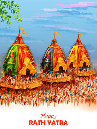 Lord Jagannath, Balabhadra and Subhadra on annual Rathayatra in Odisha festival background