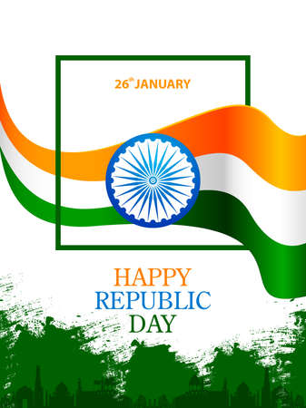 vector illustration of Happy Republic Day of India tricolor Sale and Promotion background for 26 January advertisement Иллюстрация
