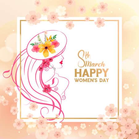 Happy International Womens Day 8th March greetings background Иллюстрация