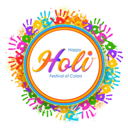 Abstract colorful Happy Holi background card design for color festival of India celebration greetings