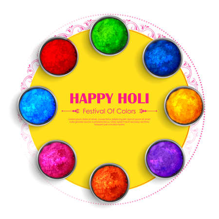 Happy Holi background card design for color festival of India celebration greetings 矢量图像