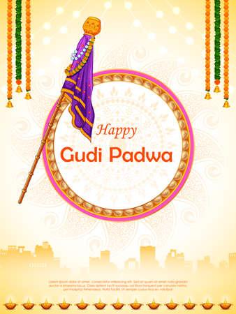 Gudi Padwa Lunar New Year celebration in Maharashtra of India Vektorové ilustrace