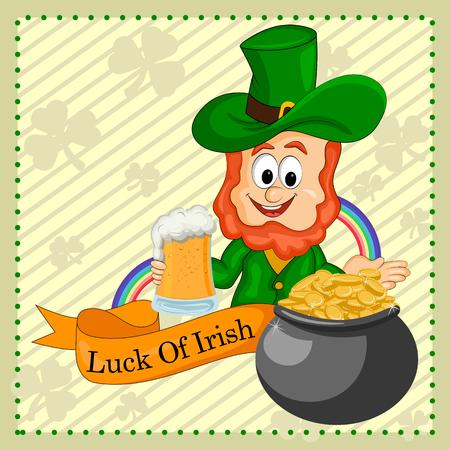 and saint: Saint Patrick wishing Luck of Irish . Illustration