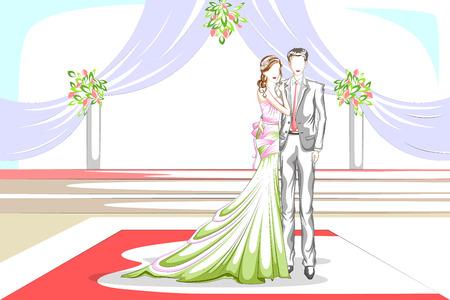 matrimony: Beautiful couple in wedding ceremony . Vector illustration