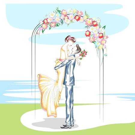 結婚式での美しいカップル。ベクトル図
