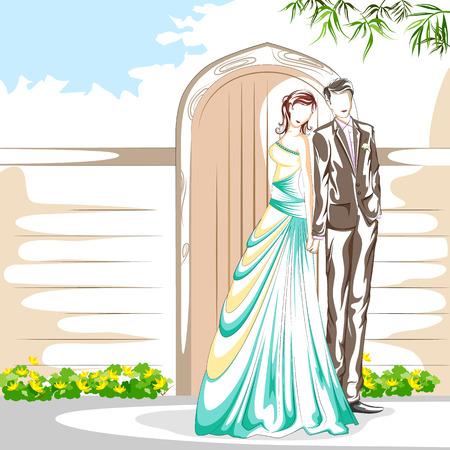 affair: Beautiful couple in romantic mood . Vector illustration