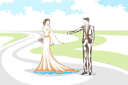 wedding couple: Beautiful couple in wedding ceremony . Vector illustration