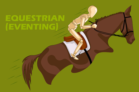 eventing: Concept of Equestrian with wooden human mannequin. Vector illustration