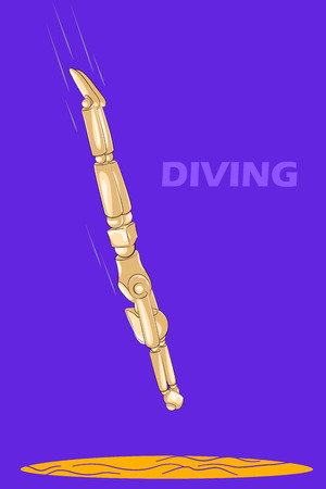 pool player: Concept of Divingl with wooden human mannequin. Vector illustration