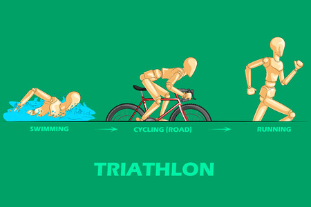 triathlon: Concept of Triathlon sports with wooden human mannequin. Vector illustration