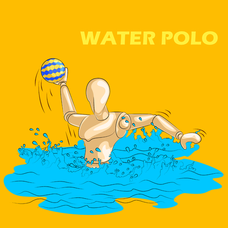 waterpolo: Concept of Water Polo sports with wooden human mannequin. Vector illustration