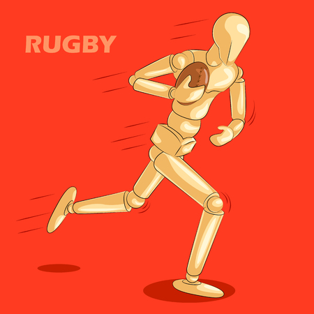 Concept of Rugby sports with wooden human mannequin. Vector illustration