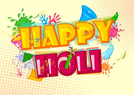 pichkari: Holi Hai meaning its Holi, festival of colors . Vector illustration Illustration