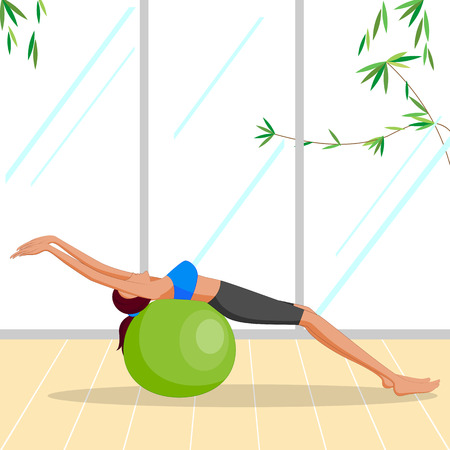 pilates ball: Beautiful woman doing Pilates Exercise with ball . Vector illustration