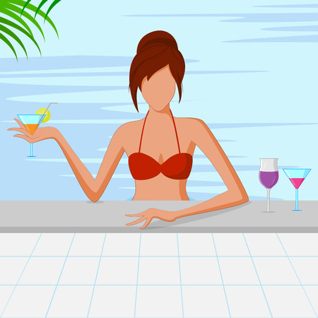 swimming pool woman: Beautiful woman in swimming pool with glass of drink. Vector illustration Illustration