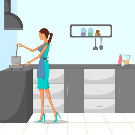 Mujer hermosa que cocina en la cocina. ilustración vectorial