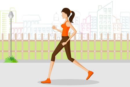 jogging in park: Beautiful woman jogging in park. Vector illustration