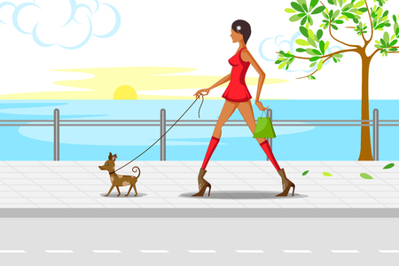 jogging park: Beautiful  woman walking with puppy. Vector illustration