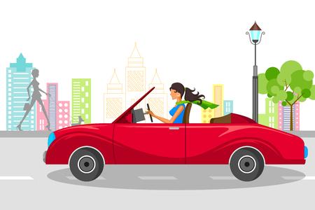 Mujer hermosa que conduce el coche. ilustración vectorial